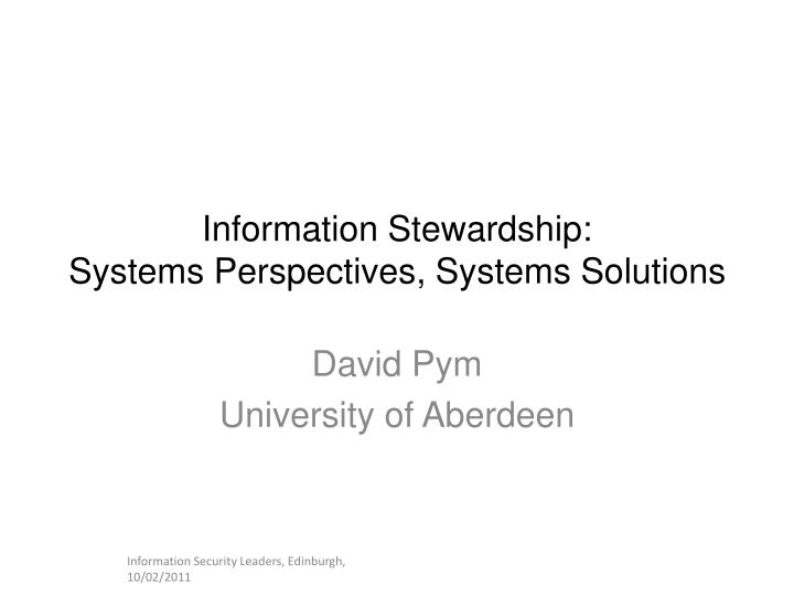 information stewardship systems perspectives systems solutions n.