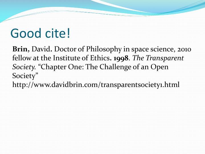 Good cite!