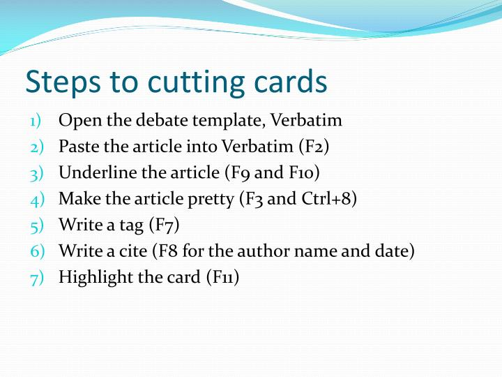 Steps to cutting cards