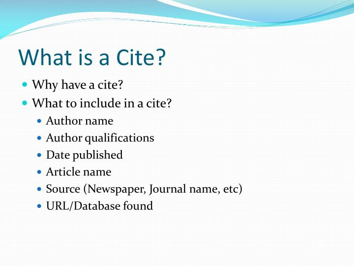 What is a Cite?