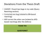 deviations from the thesis draft