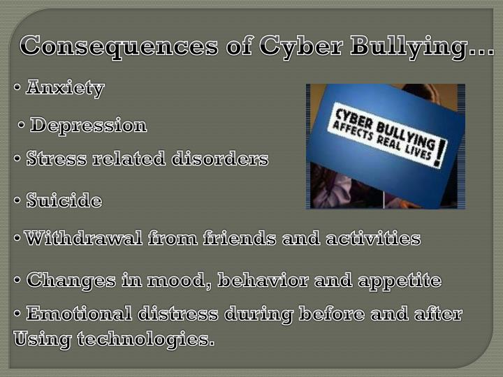 Consequences of Cyber Bullying…