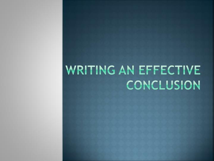 writing an effective conclusion n.