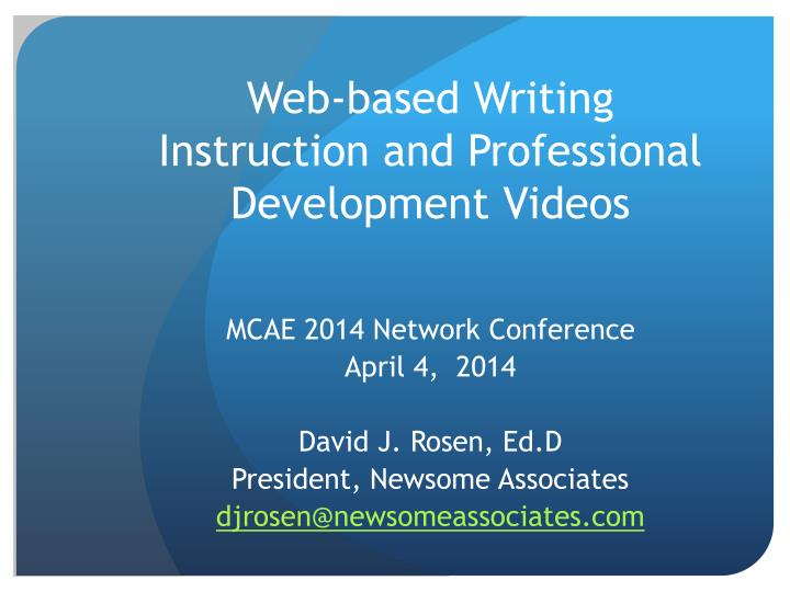 web based writing instruction and professional development videos n.