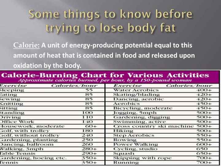 Some things to know before trying to lose body fat