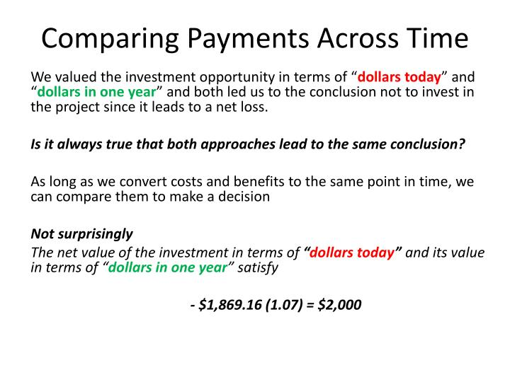 Comparing Payments Across Time