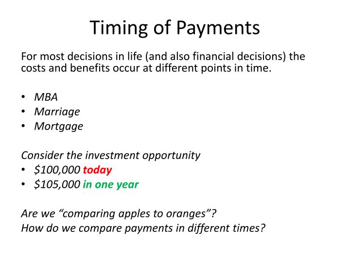 Timing of Payments