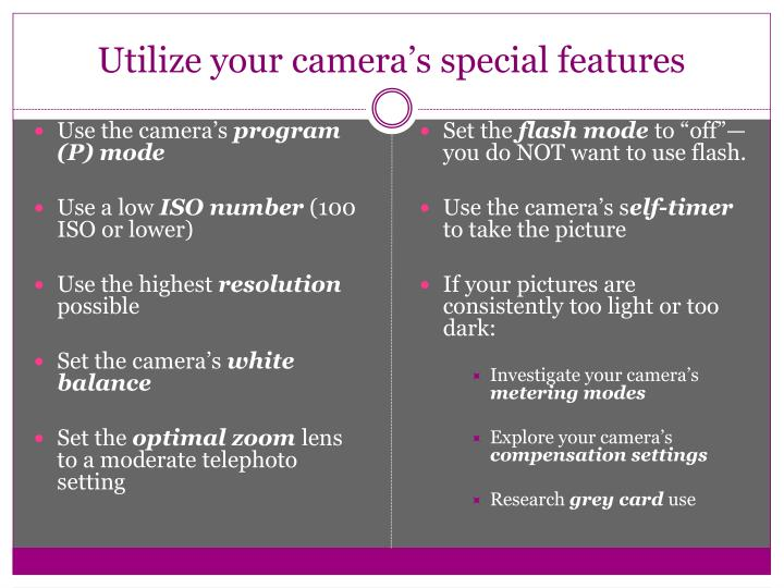 Utilize your camera's special features