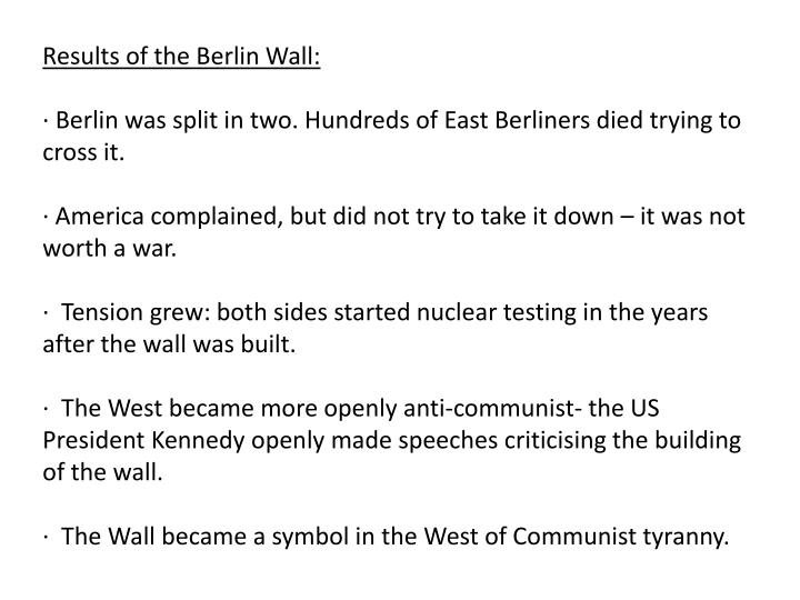 Results of the Berlin Wall: