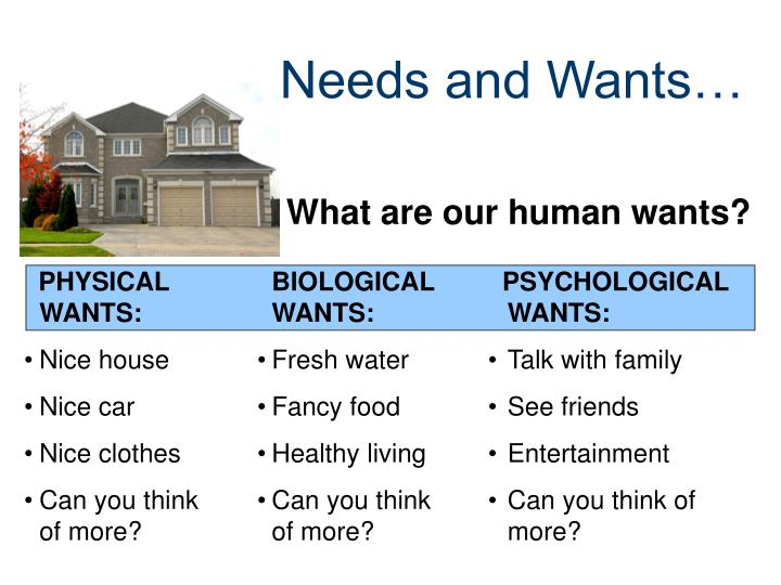 Needs and Wants…