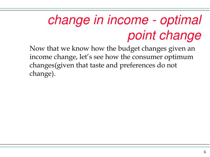 change in income - optimal point change