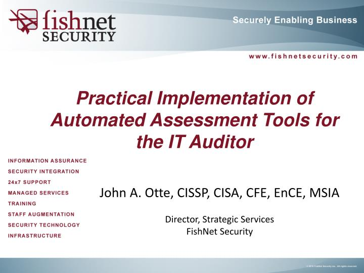 practical implementation of automated assessment tools for the it auditor n.