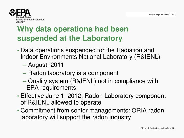 Why data operations had been suspended at the laboratory