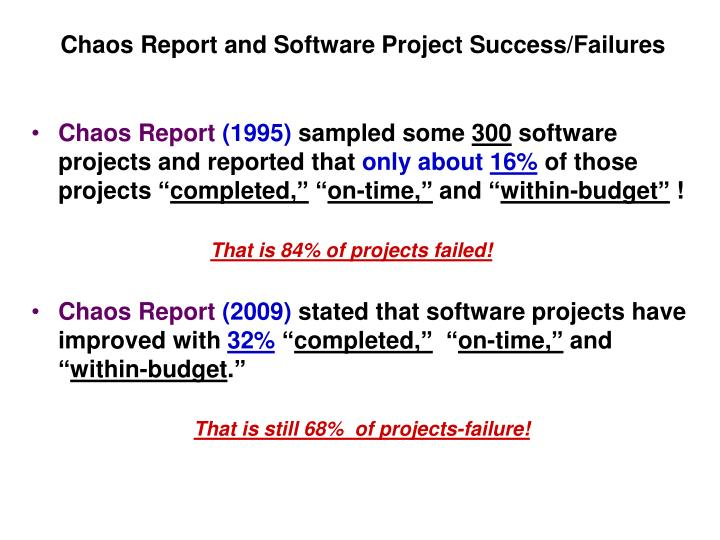 software engineering project failure Project failures are due to many causes this article presents the results of a survey of 70 professional engineers who were asked to rate 70 prospective reasons for project failure.