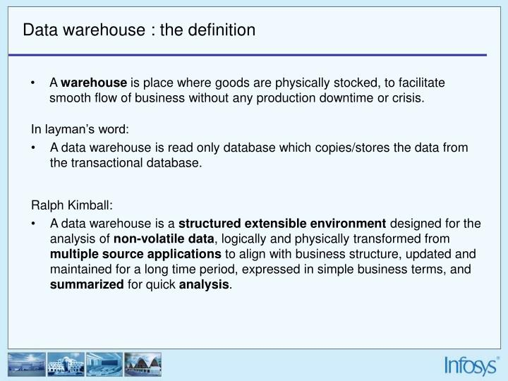 the physical design process of the data warehouse essay Data mining data mining is the computer based process used to go through and analysing huge amount of data and then mining the entire data to get meaningful data a newly developed transaction system might not work with a system that is already in place allowing businesses to make positive decisions.