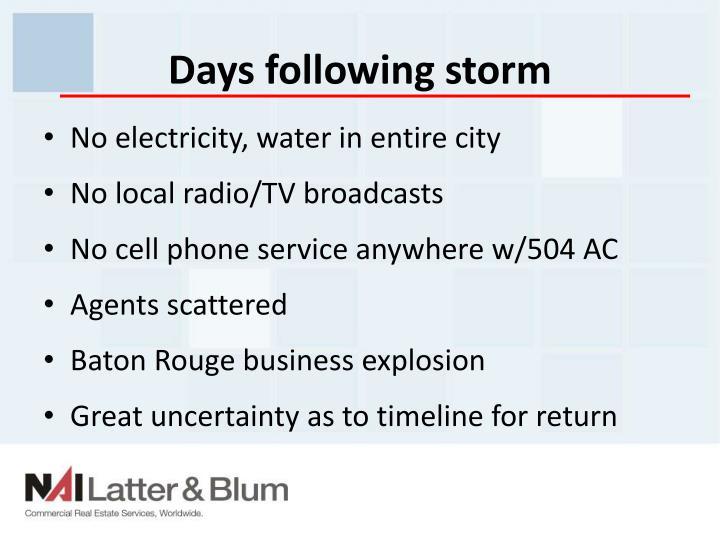 Days following storm