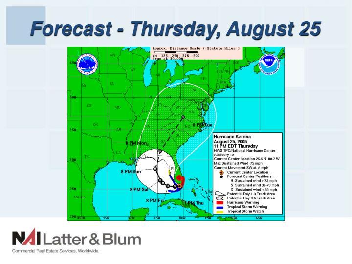 Forecast - Thursday, August 25