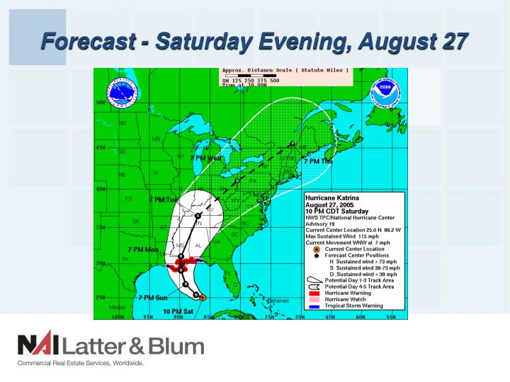 Forecast - Saturday Evening, August 27