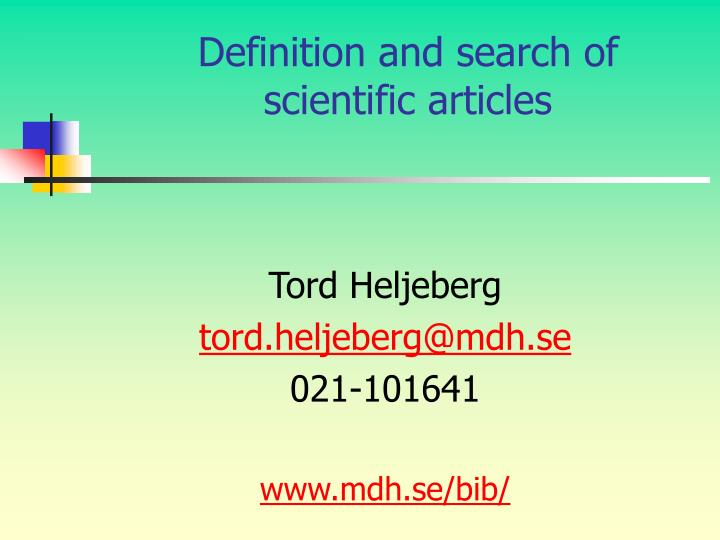 definition and search of scientific articles