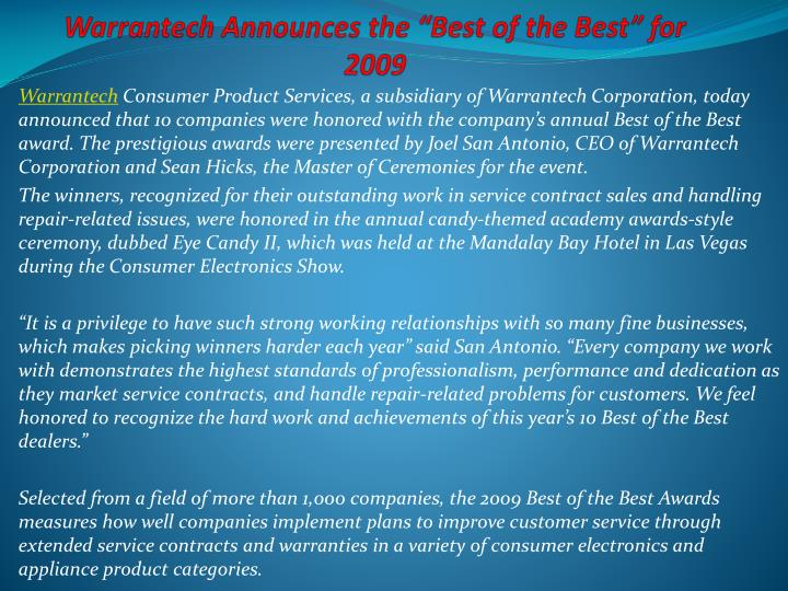 warrantech announces the best of the best for 2009 n.