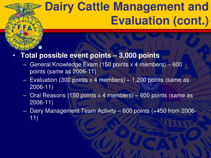 Dairy Cattle Management and Evaluation