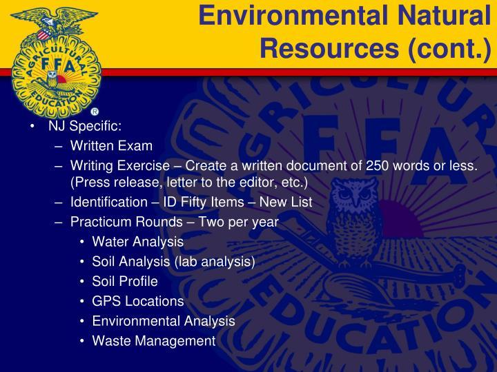 Environmental Natural Resources (cont.)