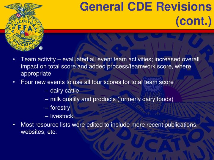 General cde revisions cont