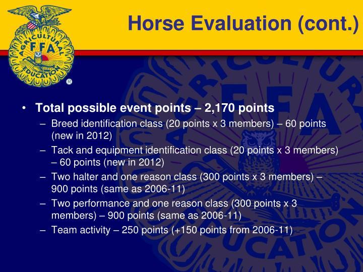 Horse Evaluation (cont.)