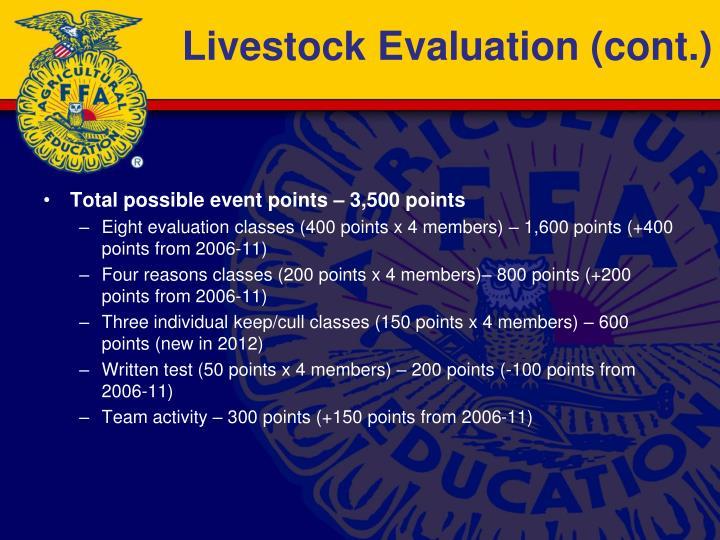 Livestock Evaluation (cont.)