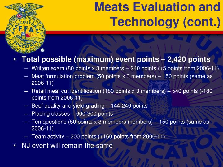Meats Evaluation and Technology (cont.)