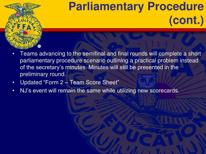 Parliamentary Procedure (cont.)