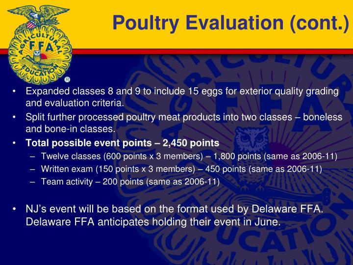Poultry Evaluation (cont.)