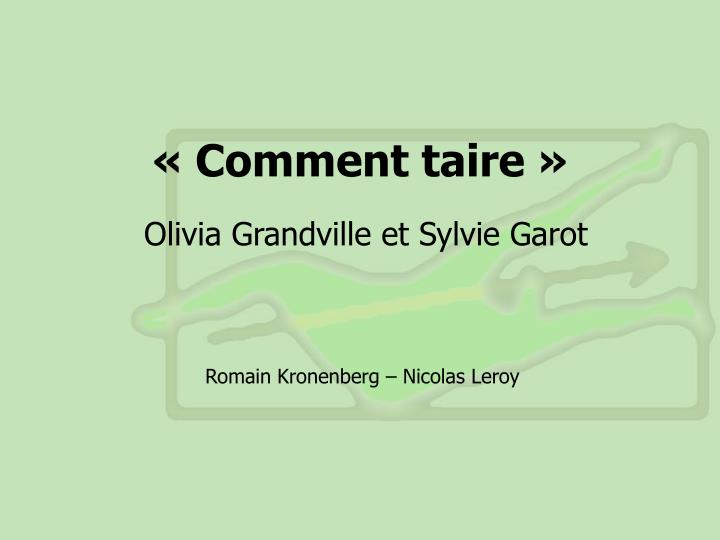 comment taire n.