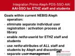 integration primo aleph pds sso aai aai sso for ethz staff and students