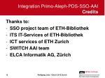 integration primo aleph pds sso aai credits