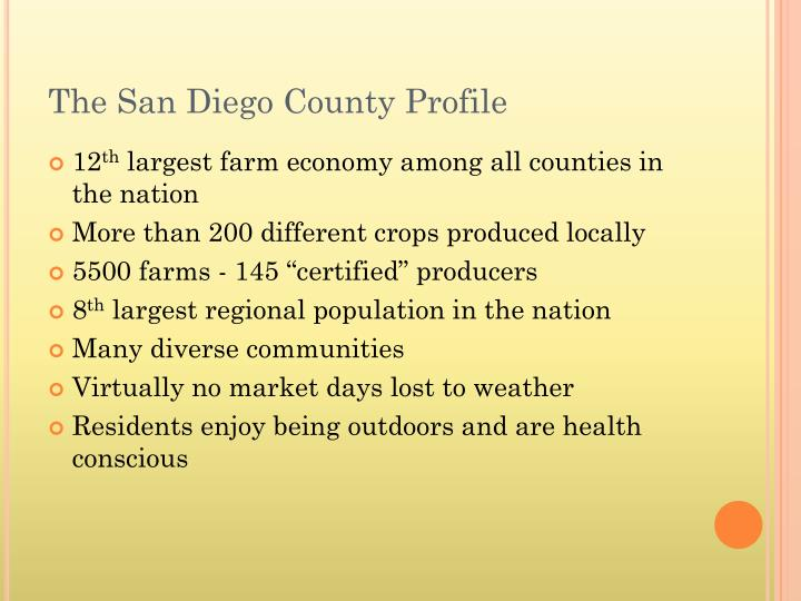 The san diego county profile
