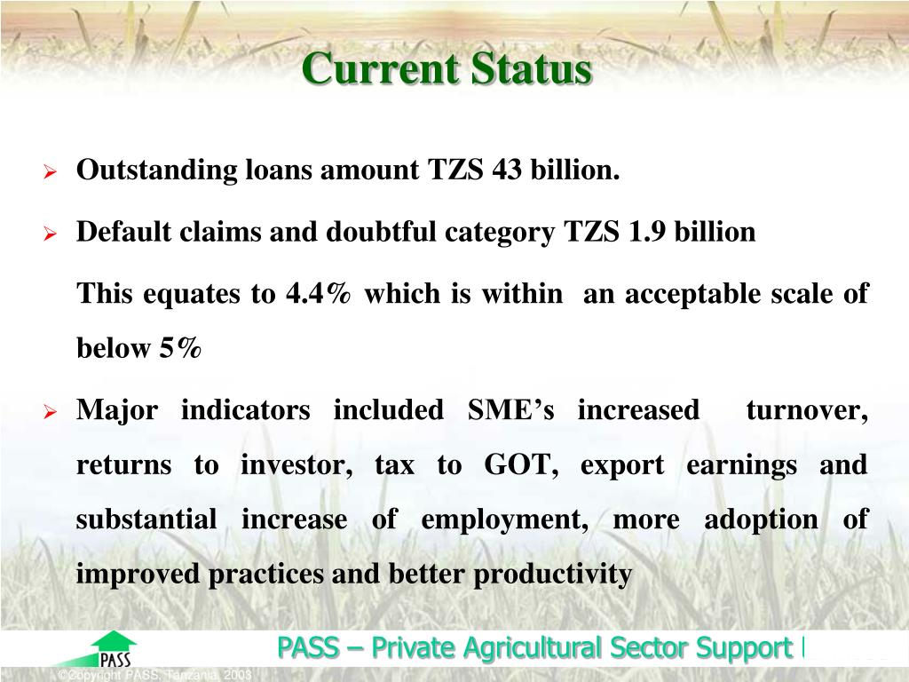PPT - PRIVATE AGRICULTURAL SECTOR SUPPORT TRUST (PASS) Paper