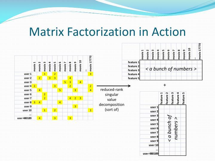 Matrix Factorization in Action