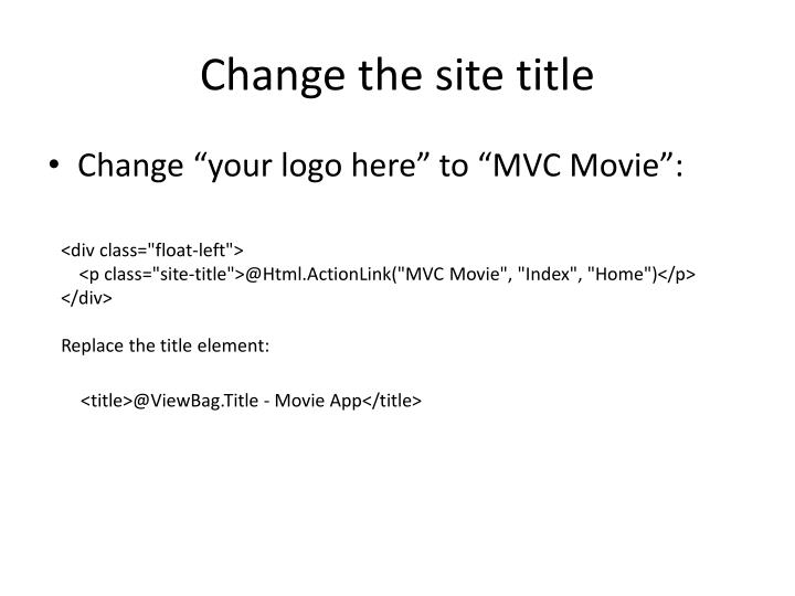 Change the site title