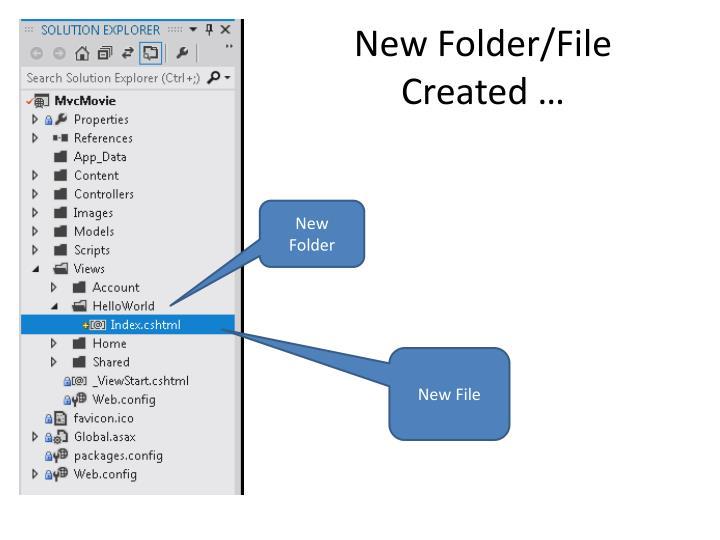 New Folder/File Created …