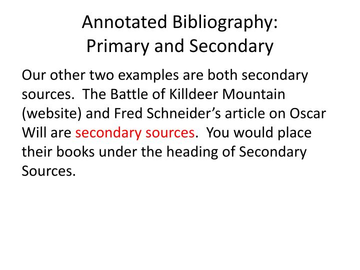 Annotated Bibliography: