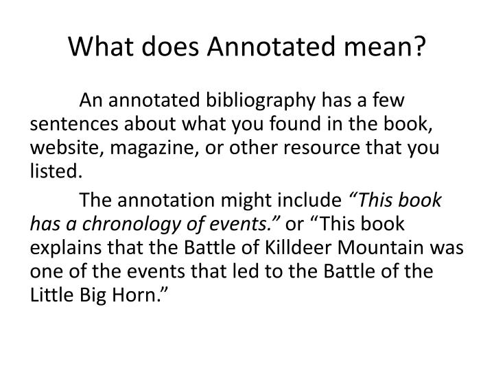 What does annotated mean