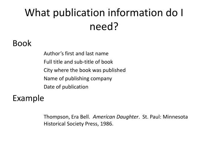 What publication information do I need?