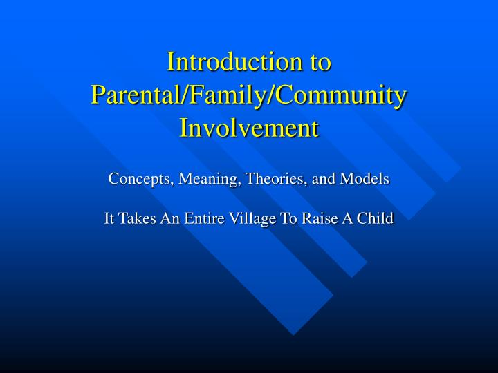 thesis paper on parental involvement The influence of parental involvement on the educational aspirations of first -generation college students by graziella michele pa gliarulo thesis to be submitted to the faculty of the graduate school of the.