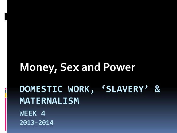 money sex and power n.