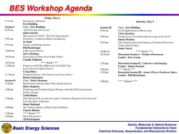 BES Workshop Agenda