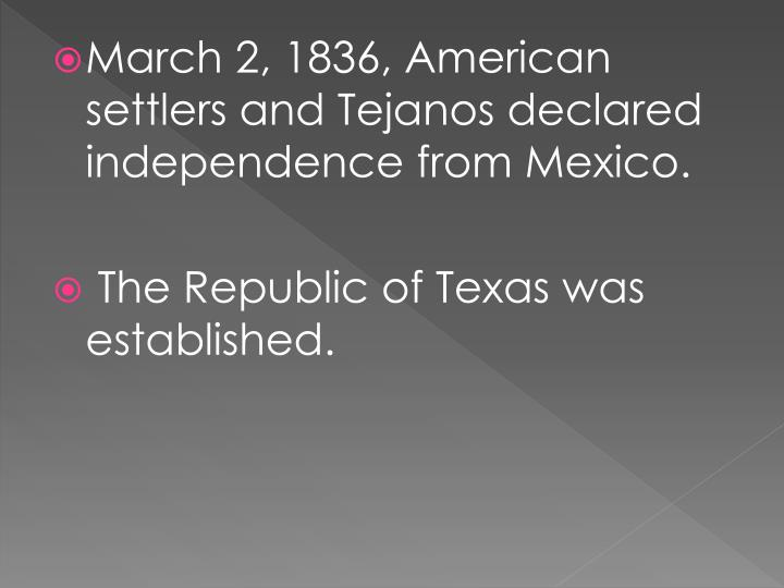 March 2, 1836, American settlers and
