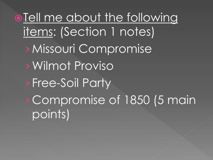 Tell me about the following items