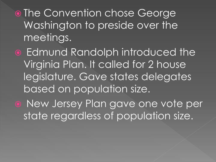 The Convention chose George Washington to preside over the meetings.