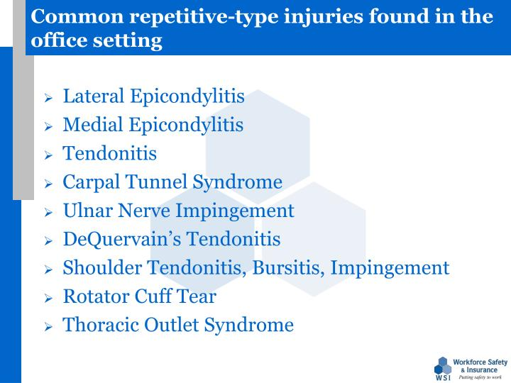 Common repetitive-type injuries found in the office setting